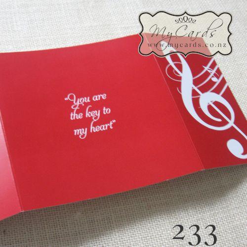 Music Notes Wedding Invitation Red 233 Gatefold Back