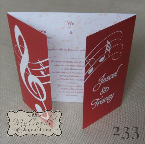 Music Notes Wedding Invitation Red 233 Gatefold Stand