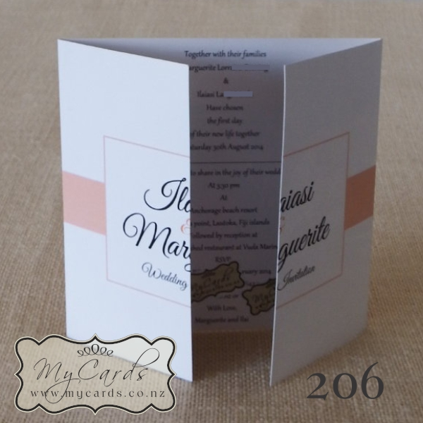 140mm Gatefold Wedding Invitation Mycards Auckland Nz