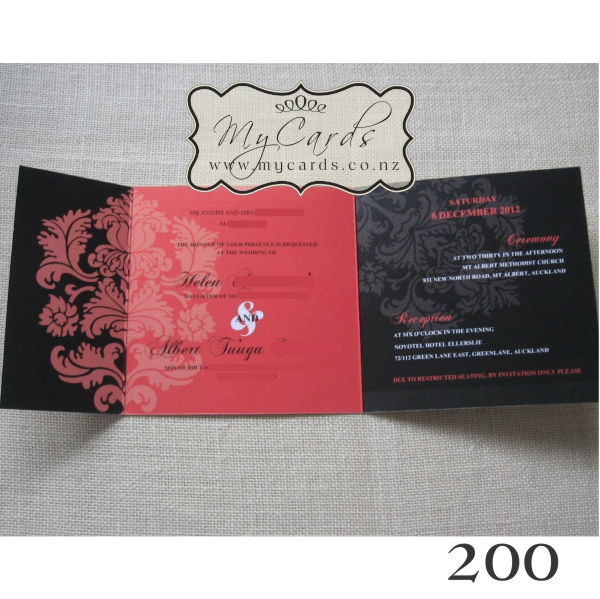 140mm letterfold wedding invitation mycards auckland nz for 200 wedding invitations cost