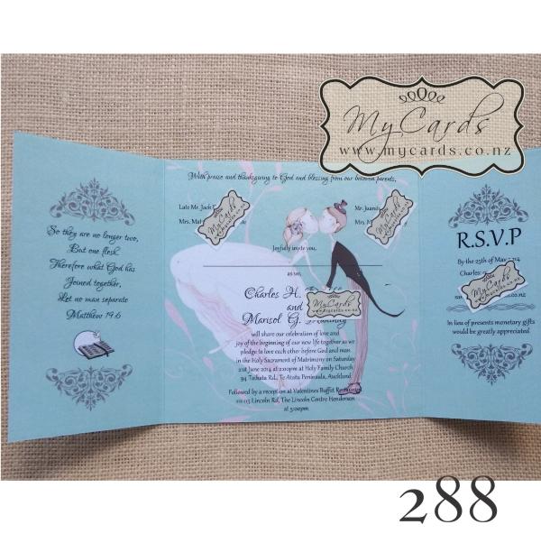 ... 288 Mint Green Gatefold Wedding Invitation Inside MYCARDS ...