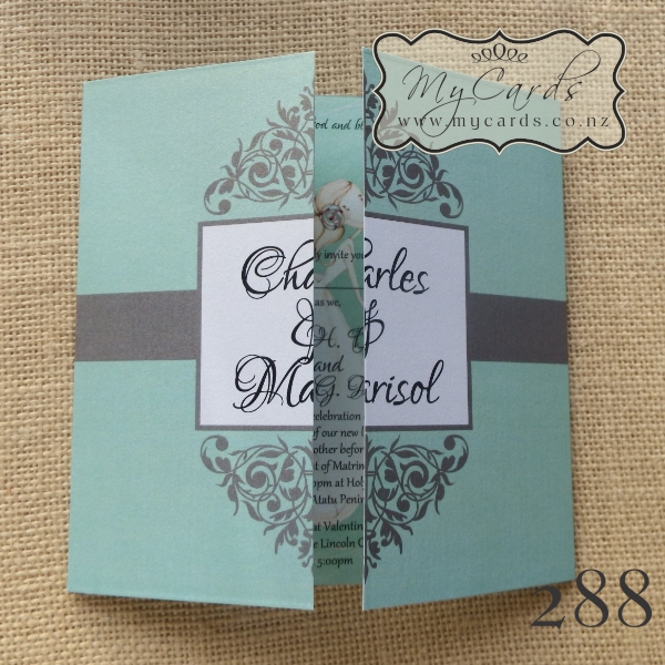 Mint Flourish 140mm Gatefold Wedding Invitation | Design ...
