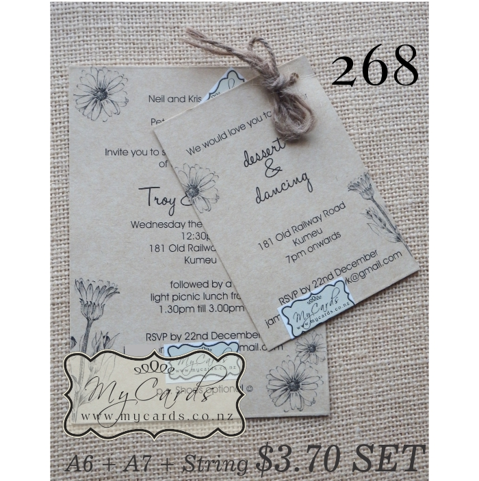 268 rustic string kraft wedding invitation price