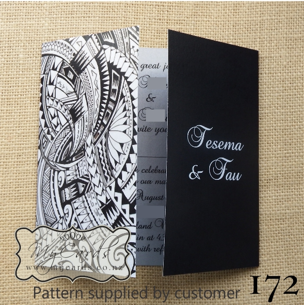 172 Silver Black Island Pattern Wedding Invitation MYCARDS