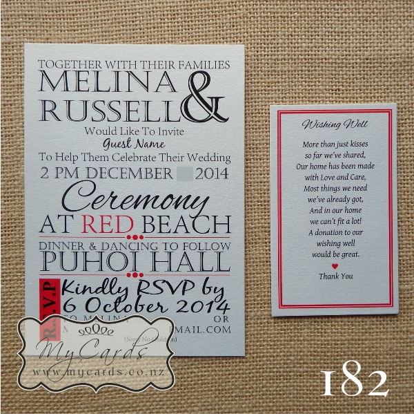 A6 Modern Text Pop With Red Wedding Invitation Design 182 MYCARDS