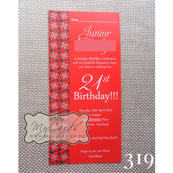 Pacific Island Pattern Birthday Invitations NZ St - Birthday invitation nz