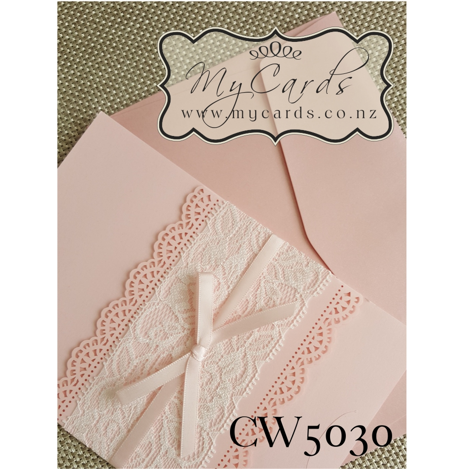 Lace Wedding Invitation Pink CW5030 Cover Auckland NZ MYCARDS