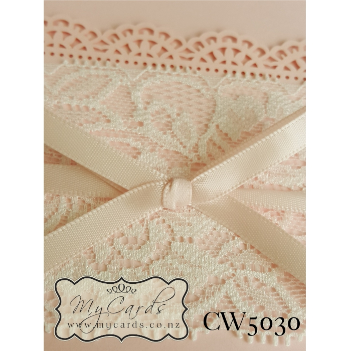 Lace Wedding Invitation Pink CW5030 Auckland NZ MYCARDS Cover CU