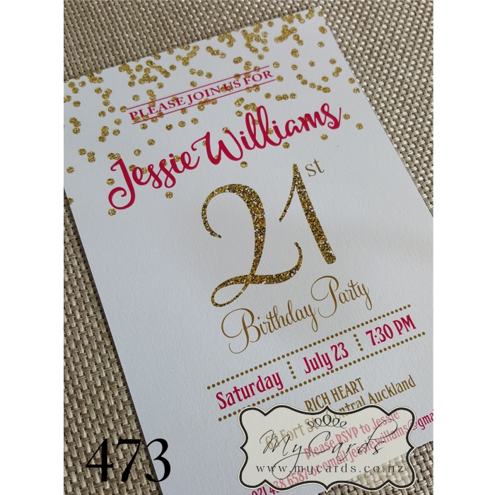 Gold Glitter Confetti Pink 21st Birthday Invitation | Design 473 ...