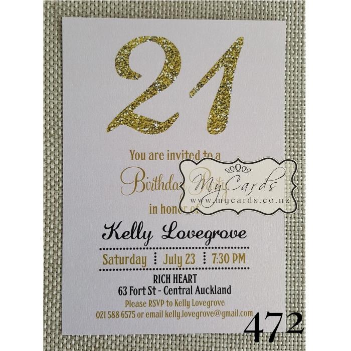 Gold glitter pink 21st birthday invitation design 472 mycards gold pink birthday invitation 21st auckland nz mycards 472 filmwisefo Gallery