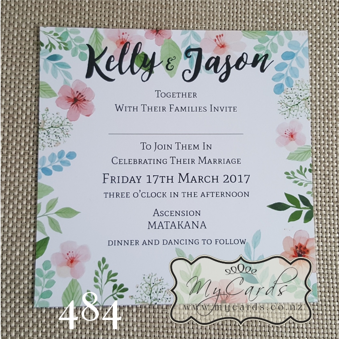 Watercolour Flowers Square Wedding Invitation Design 484