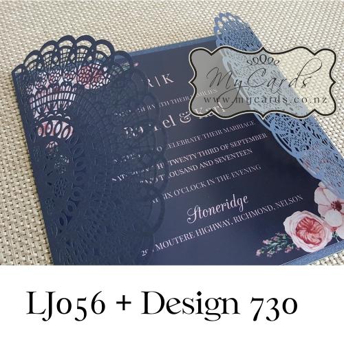 blue navy gatefold wedding invitation cover lasercut   mycards, Wedding invitations