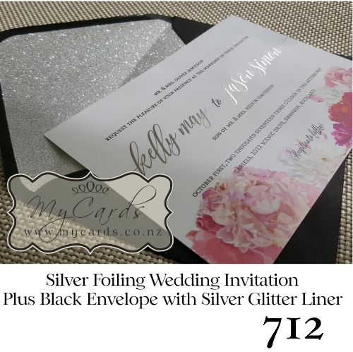 Silver Foil With Peonies Wedding Invitation Design 712 Zoom
