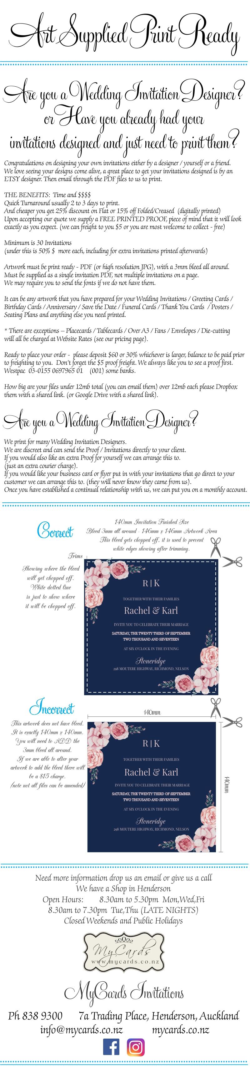 Artwork Supplied Wedding Invitations | MYCARDS