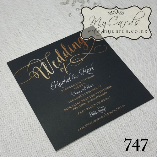 Black And Gold Wedding Invitation Square Mycards Auckland Nz 747