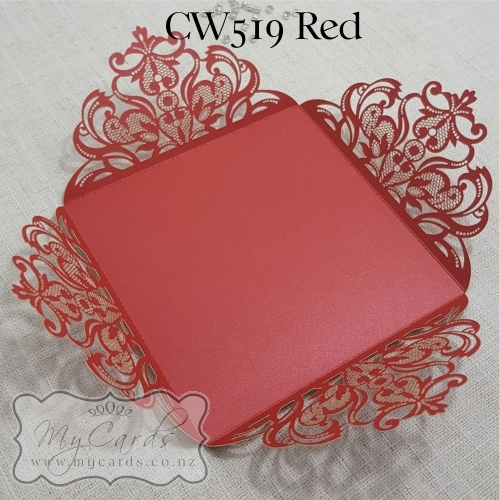 Wedding Invitations Cover: Red Wedding Invitation Cover Lasercut