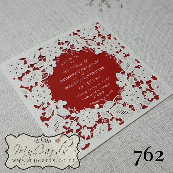 Red White Wreath Lasercut Wedding Invitations Square – Red White Wedding Invitations