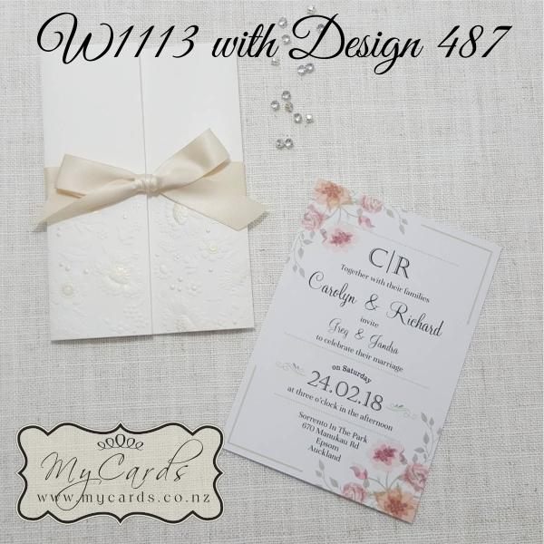 Embossed Wedding Invitation Cover Cream W1113 487