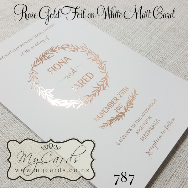 rose gold foil wedding invitation design 787 mycards With foil wedding invitations nz