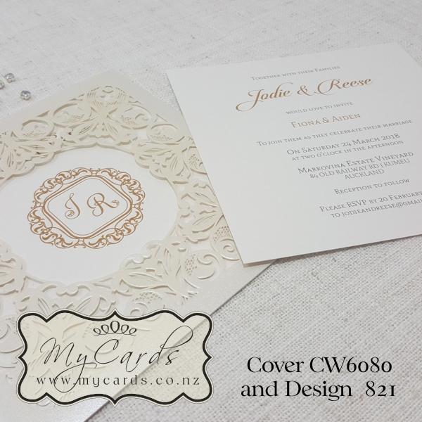 Monogram Wedding Invitation Gold Square Cw6080 Laser Cover Elegant Modern Mycards Auckland Nz 821 Jodie Reese