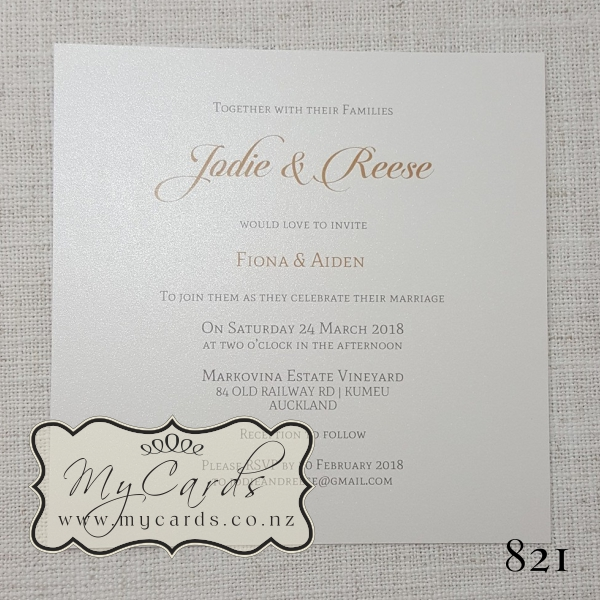 Wedding Invitation Gold Square Elegant Modern Mycards Auckland Nz 821 Jodie Reese White Metallic Shimmer