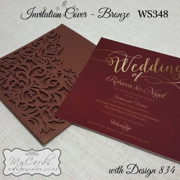 Wedding Invitations Cover: Bronze With Burgundy Wedding Invitation Square With WS348
