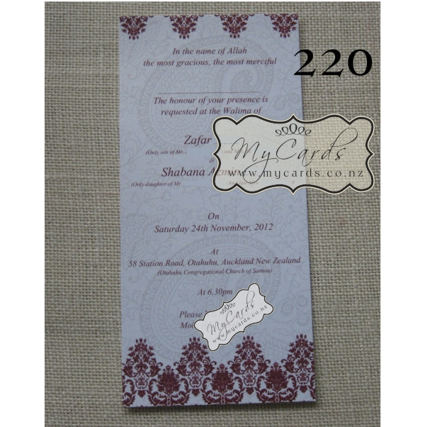 DLE Damask Red Paisley Wedding Invitation Design 220