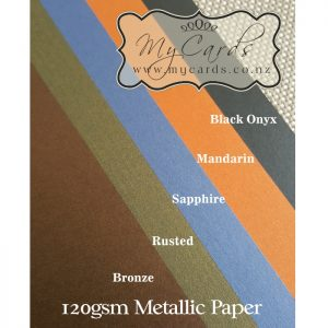 Metallic Paper 120gsm Rusted Bronze Mandarin Onyx Sapphire Auckland NZ MYCARDS