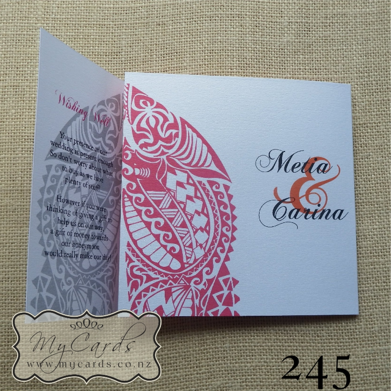 Maori wedding invitation 140mm letterfold mycards auckland nz maori pattern wedding invitations auckland nz stopboris Gallery