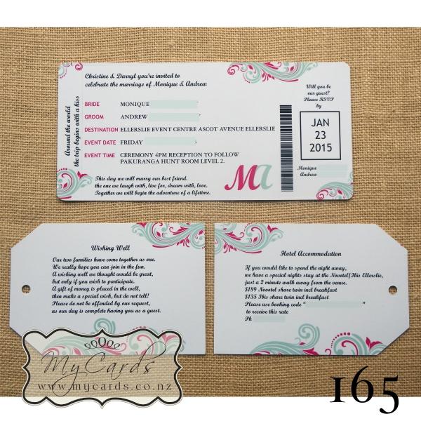 Dle Boarding Pass Wedding Invitation Design 165 Mycards