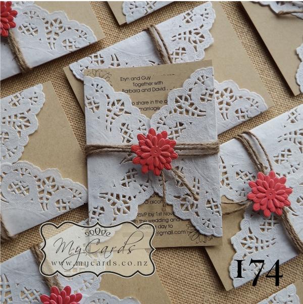 A6 Doily Wedding Invitation Set Design 174 Mycards