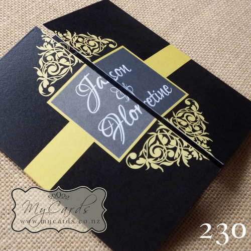 Black And Yellow Flourish Gatefold Wedding Invitation Design 230
