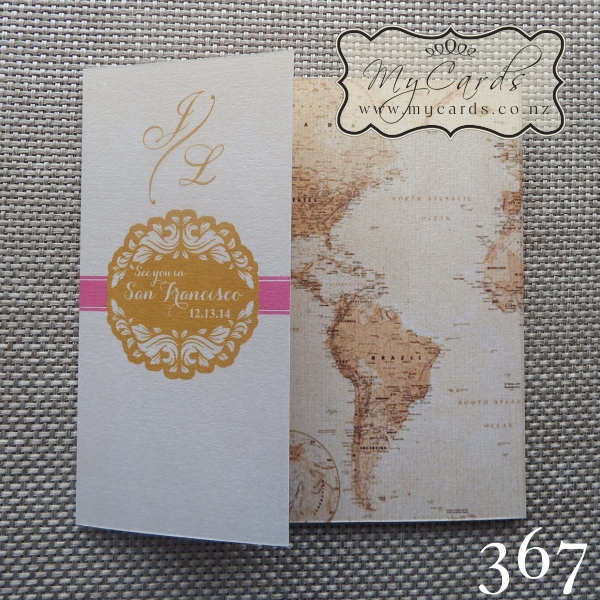 Wedding Invitations With Maps: World Map 140mm Letterfold Wedding Invitation