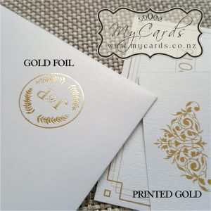 Gold Foil vs Printed Gold auckland nz mycards