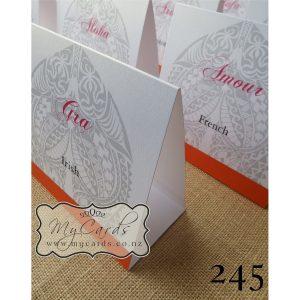 Maori Pattern Wedding Invitations Table Cards Auckland NZ