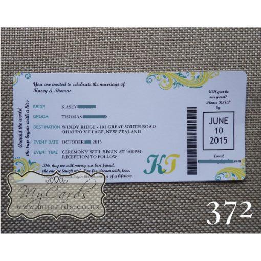 Boarding Pass Wedding Invitations Auckland NZ 372 MYCARDS