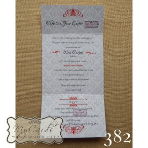 Damask Birthday Invitations Red Silver MYCARDS NZ Auckland 382