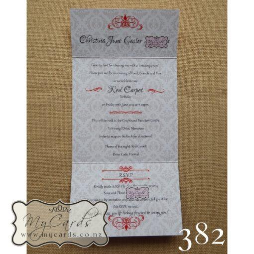 Damask Birthday Invitations Red Silver MYCARDS NZ Auckland 382