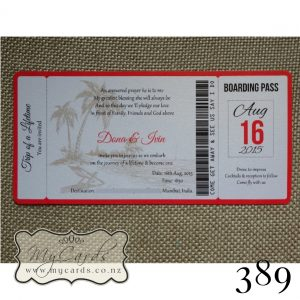 Boarding Pass Wedding Invitations Auckland 389 NZ