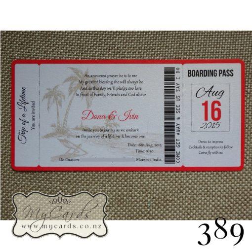 Boarding Pass Wedding Invitations Auckland 389 NZ