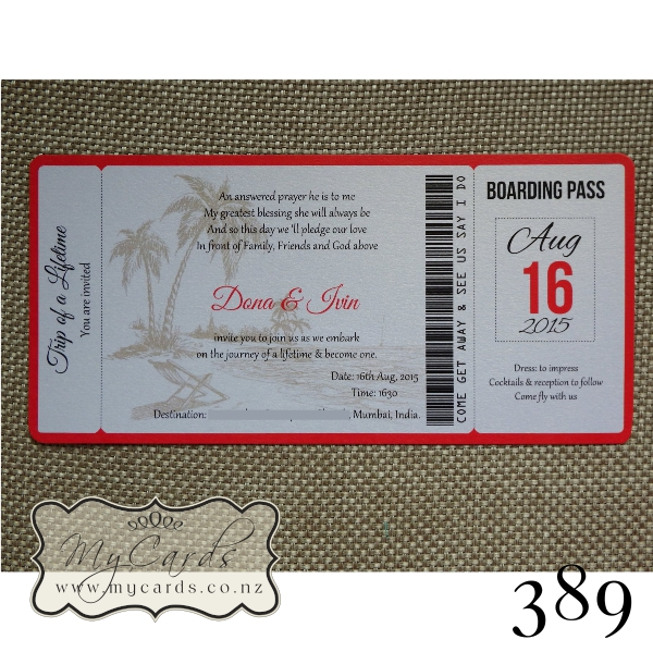 Boarding Pass Wedding Invitations Auckland Nz Map 389