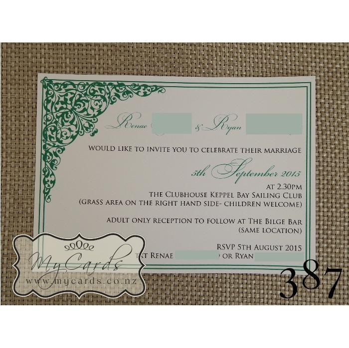 Green Corner Flourish Wedding Invitation 387 | MYCARDS