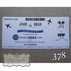 boarding pass wedding invitations palm trees blue pacific auckland nz