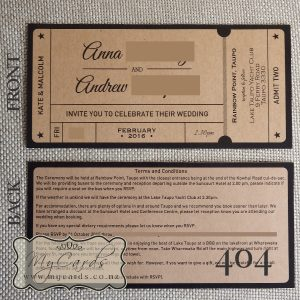 ticket wedding invitations kraft card NZ 404 Auckland