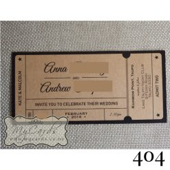ticket wedding invitations kraft card NZ 404
