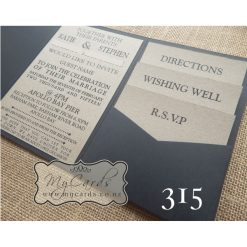 pocketfold wedding invitations kraft card black 315 auckland nz