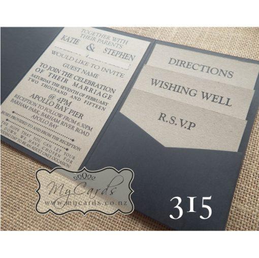 pocketfold wedding invitations kraft card black 315 auckland nz