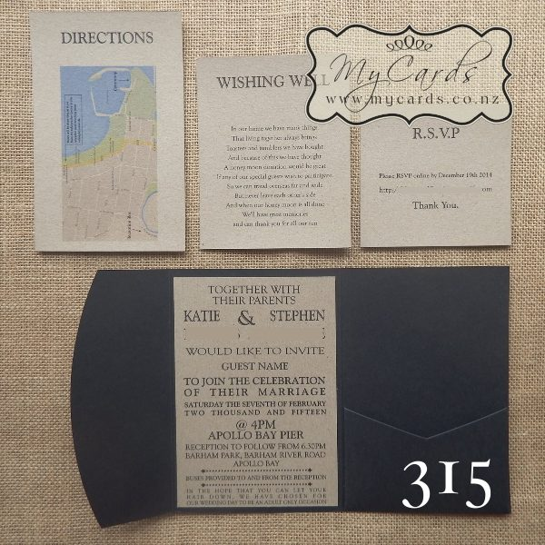 pocketfold wedding invitations kraft black Inserts 315 NZ