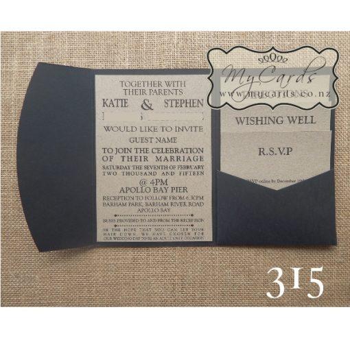 pocketfold wedding invitations kraft black Inserts 315 NZ