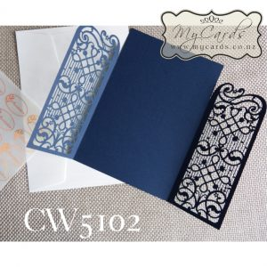 Navy Blue Wedding Invitations Cover 5x7 CW5102 Auckland NZ